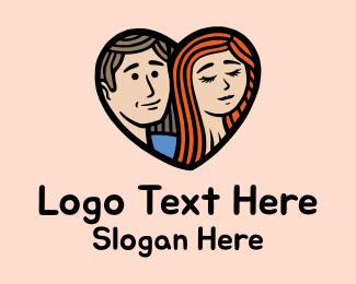 Matchmaking - Man Woman Heart logo design