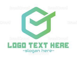 Complete - Mint Hexagonal Check logo design