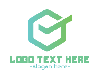 Review - Green Hexagon Check logo design
