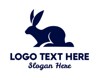 Blue Rabbit - Rabbit Silhouette logo design