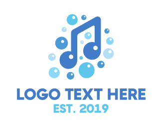 Bubbles - Music Note Bubbles logo design