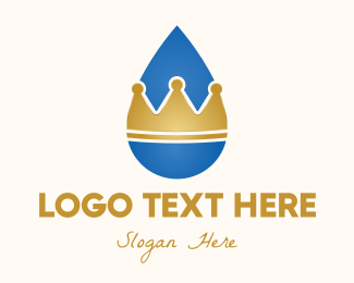 Water Drop - Water Droplet Crown logo design