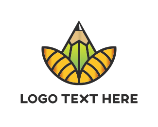 Pencil - Pencil Flower logo design