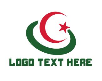 Astrophysicist - Modern Algeria Flag logo design