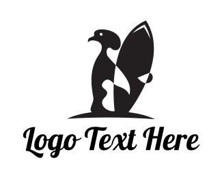 Surfboard - Penguin Surfer logo design
