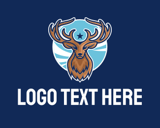 Reindeer Antlers Sport Mascot Logo