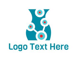 Molecule - Laboratory Vase logo design