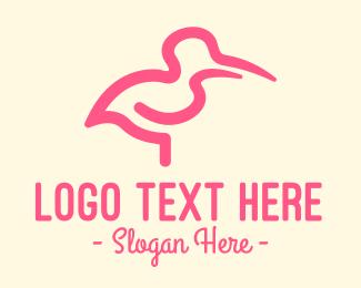 Bird Silhouette - Abstract Flamingo logo design