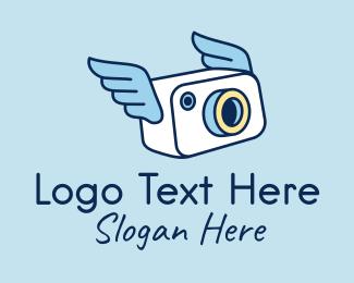 Photograph - Camera Photographer Wings logo design