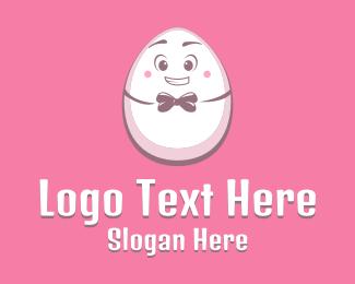 Egg Hunting - Bow Tie Egg Mascot logo design