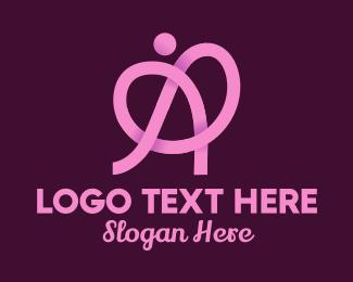 Lace - Pink Ribbon Knot Letter A logo design