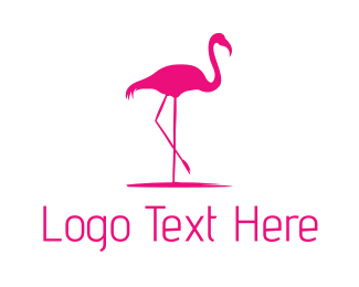 Boutique - Pink Flamingo Silhouette logo design