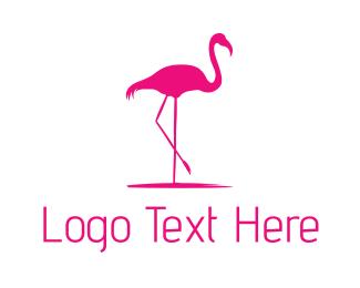Pink - Pink Flamingo Silhouette logo design