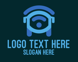 Blue Wifi Bus Logo