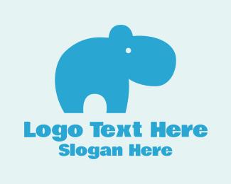 Caterpillar - Cute Blue Hippo  logo design