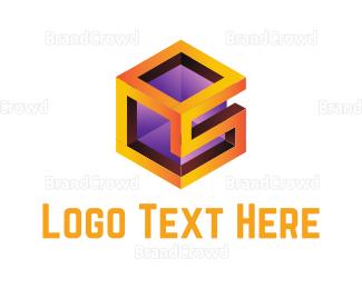 3d - S Cube logo design