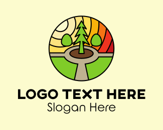 Stained - Pine Tree Landscape Mosaic  logo design