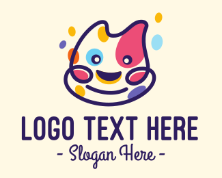 Color - Colorful Spotted Happy Cat logo design