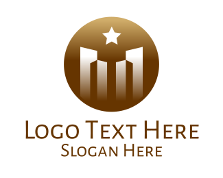 Quality - Luxurious City Building Star Circle logo design