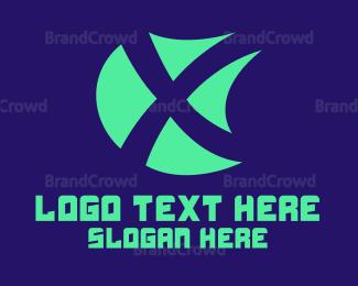 Flat - X Shield logo design