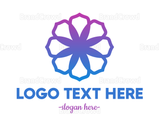 Blue And Purple - Neon Purple Flower logo design