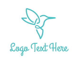 Minimal - Blue Hummingbird logo design