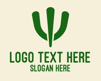 Wild West - Simple Green Cactus  logo design