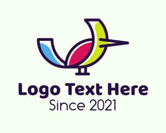 Finch - Colorful Bird logo design