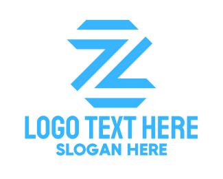 Typography - Blue Letter Z logo design