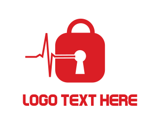 Healthcare - Red Padlock logo design