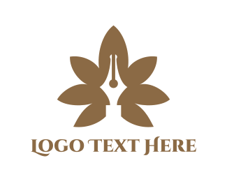 Weed - Brown Cannabis Pen logo design