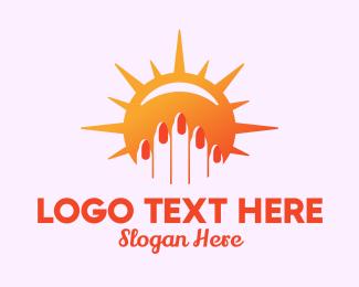 Pedicure - Sunny Fingernails logo design