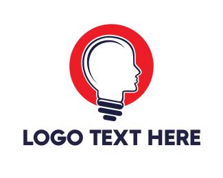 Ideas - Red Head Bulb logo design