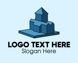 Suburbs - 3D Blue House  logo design