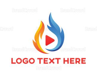 Video Player - Feather Phoenix Media logo design