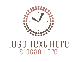 Brown - Squares Clock logo design