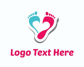 Shoe - Pink & Blue Footprints logo design