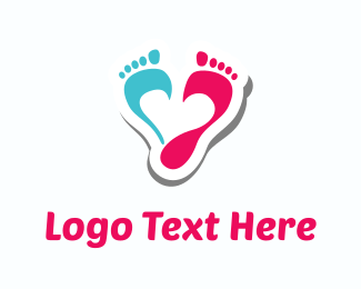 Podiatry - Pink & Blue Footprints logo design