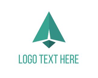 Paper Plane - Green Arrow logo design