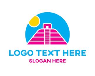 Blue And Pink - Mayan Sunset logo design