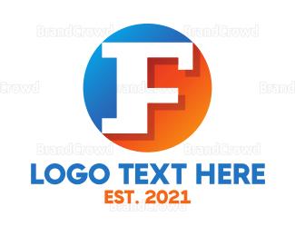 Shadow - Blue & Orange F Badge logo design