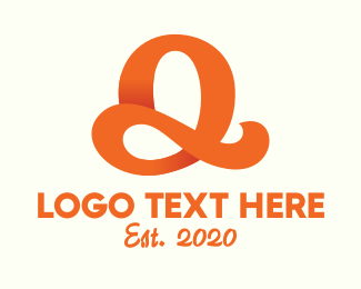 """Orange Script Letter Q"" by town"