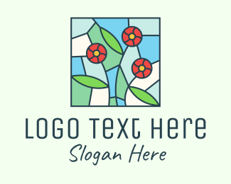 Flower Field - Stained Glass Flowers logo design