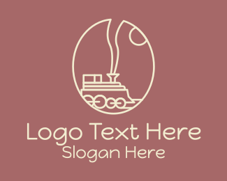 Railway - Minimalist Train Coffee Bean logo design