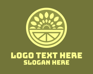 Yellow Leaf - Green Fruit Leaf Burst logo design