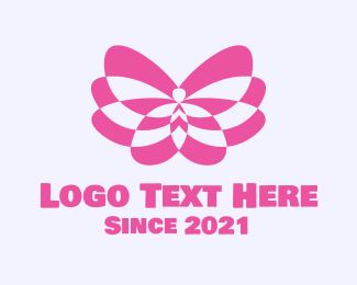 Metamorphosis - Pink Abstract Butterfly logo design