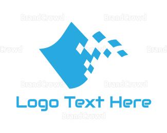 Drift - Pixel Racing Flag logo design