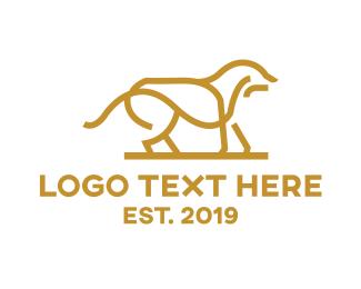 Hound - Gold Outline Dog logo design
