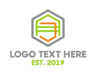 Initials - Geometric AJ Outline logo design