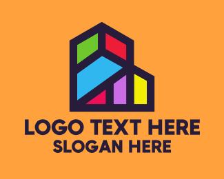 Geometric Shapes - Colorful Geometric Building logo design